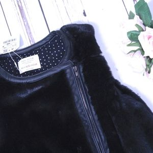 NWT Girls 10/11 ZARA Faux Fur VEST black vest new